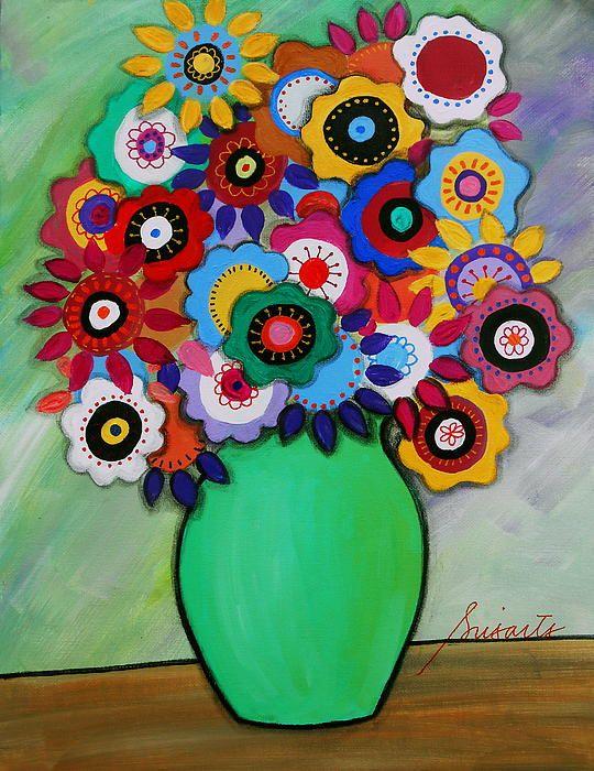 blooms , flower , florals , whimsical , pristine , cartera , turkus , folk , painting , cool , mexican , birthday , baby , nursery, still-life, great housewarming gift, bar,bat,b'nai mitzvah present, love, #prisarts #folkart #painting