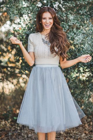 Jacqueline Grey Tulle Midi Skirt