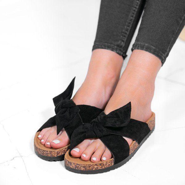 Czarne Damskie Klapki Z Kokardka Sun And Fun Obuwie Slip On Sandal Shoes Fashion