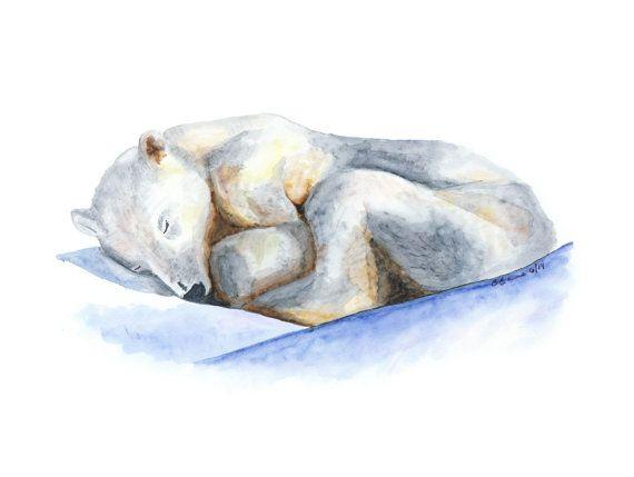 Polar Bear Art Arctic Animal Baby Polar Bear by TinyToesDesign