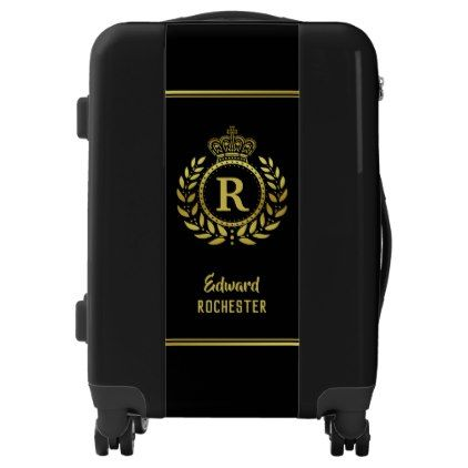 Royal Crown Laurel Wreath Black Gold Monogrammed Luggage - initial gift idea style unique special diy