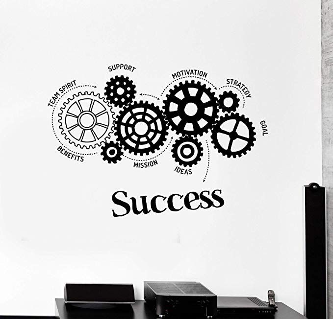 Quotes Vinyl Wall Decal Success Words Gears Office Motivation Removable Art Stickers Inspirational Office Wall Decals Wall Stickers Bedroom Office Wall Design