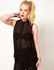 Hearts & Bows Chiffon Studded Collar Blouse  www.asos.com