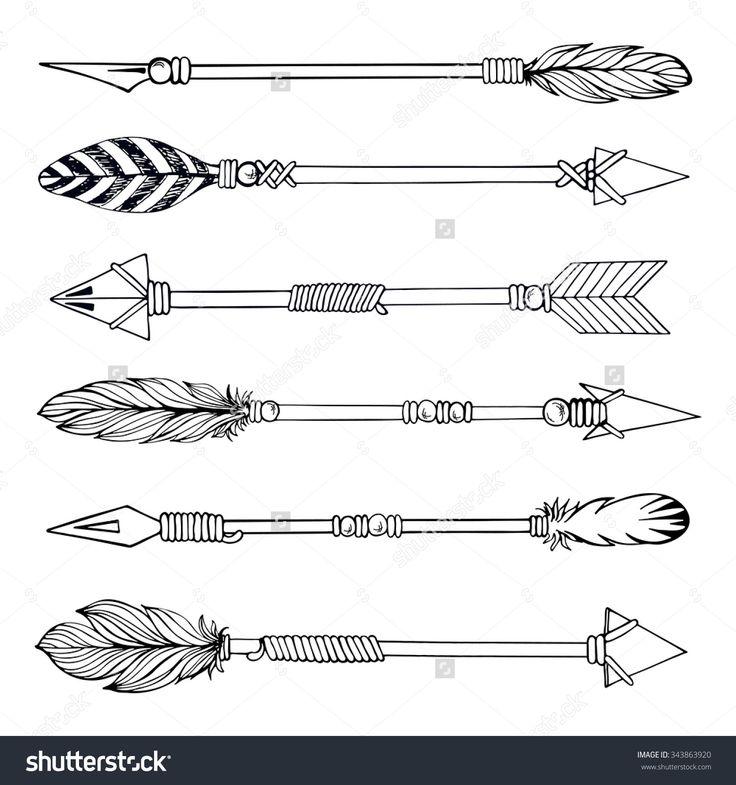 Tribal Indian Arrow Set. Ethnic Hand Drawn Vector Illustration ...                                                                                                                                                                                 Más