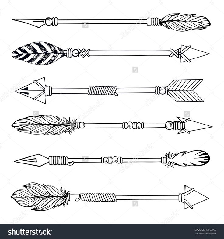 Tribal Indian Arrow Set. Ethnic Hand Drawn Vector Illustration ...
