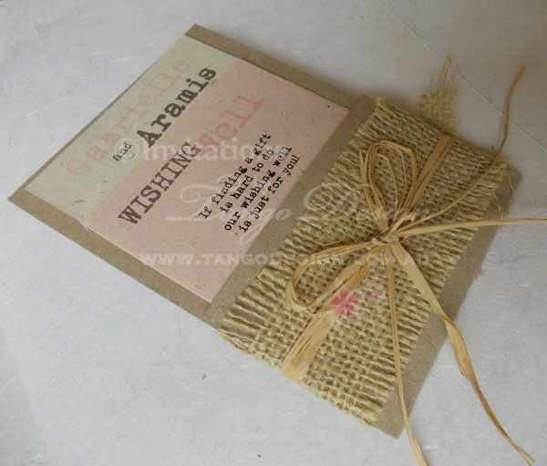 Shabby Chic hessian or burlap Invitation pocket with eco paper and raffia by www.tangodesign.com.au #rustic #wedding #invitations