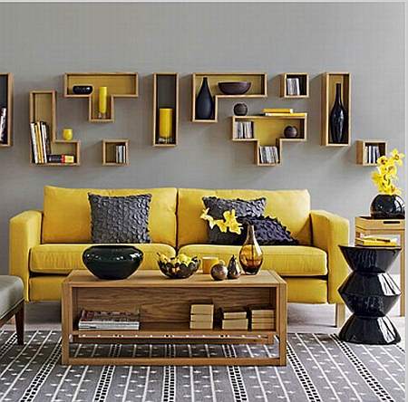 Beautiful yellow and grey living room color