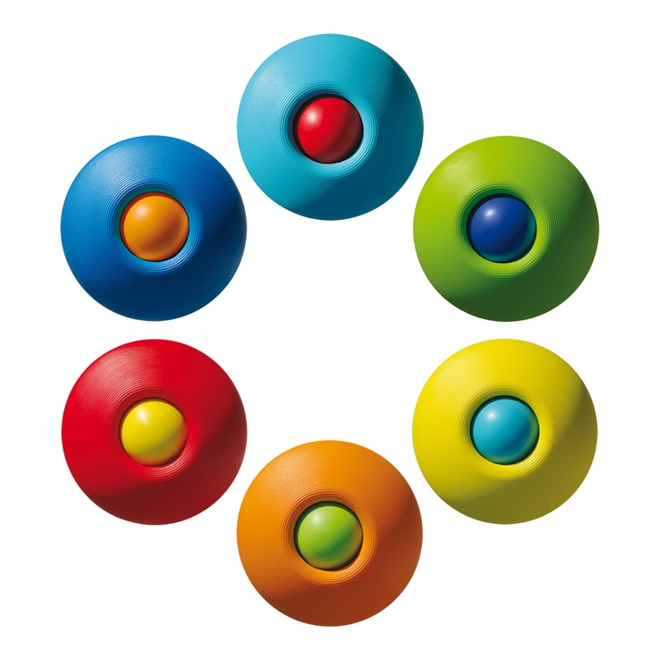 Babal - 2 balls in 1. Roll, stack, nest, throw and catch. Mix & match colors. Launched in 2005 #design #alex_hochstrasser