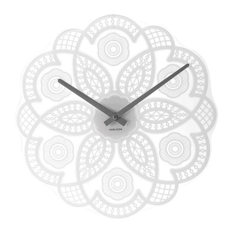 Karlsson Wall Clock Lace Cut Out - White Glass 38cm