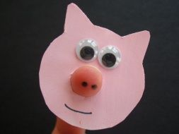 The Three Little Pigs.  Take a closer look.  Super cute.  Super easy.  The students will LOVE it!  Pig FINGER puppet. And why not make a wolf too!?