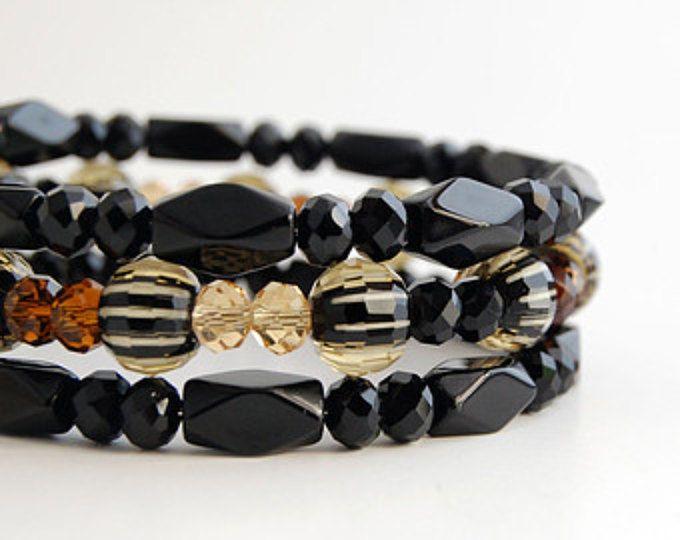 Black and Amber Glass Bead Memory Wire Bracelet, Beaded Wrap Bracelet, Beaded Bangles