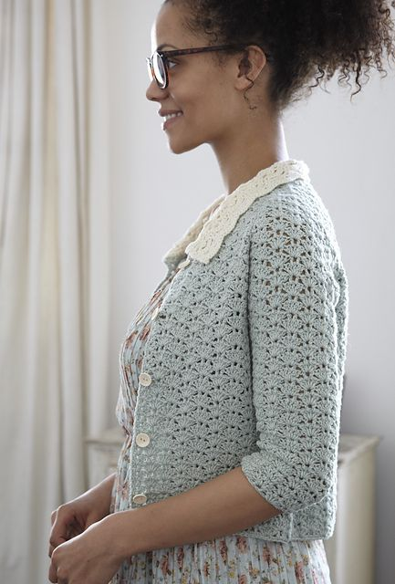 Peter Pan Collar Cardigan. Pattern by Nicki Trench from the book Geek Chic Crochet.