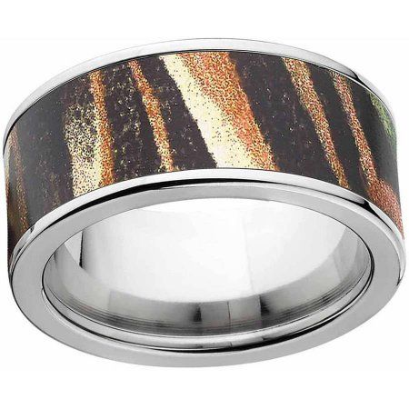 Mossy Oak Shadow Grass Men's Camo Stainless Steel Ring with Polished Edges and Deluxe Comfort Fit, Size: 11.5