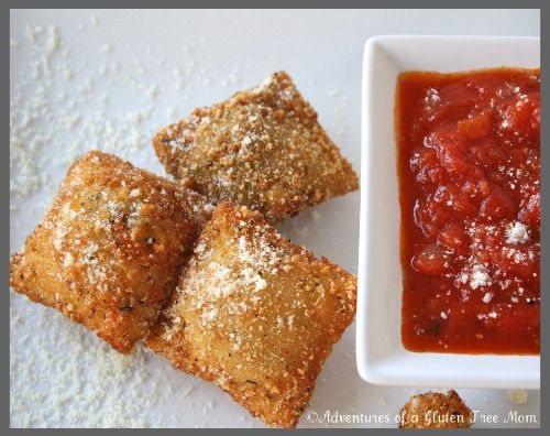 Okay, here it is! This is so exciting for me, I never imagined being able to enjoy toasted ravioli again. Not only is the toasted ravioli in the above photo gluten-free, but it is also allergy-friendly too!This post is now linked to a great series that the lovely Jenn (a chemist!) over at Jenn Cuisine is doing called Gluten Free Substitutions. Seriously, who better than a scientist to teach us about the craziness called gluten-free baking?? :-DThe first time I had toasted ravioli was