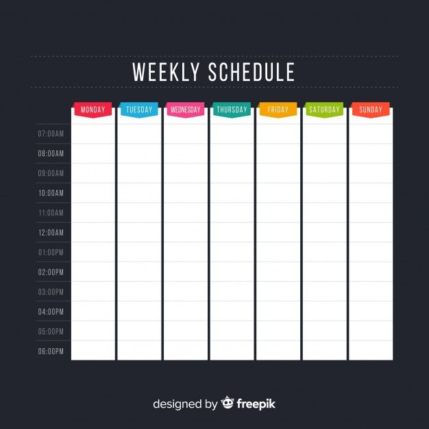 download colorful weekly schedule template with flat