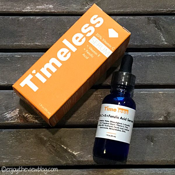 Product Review: Timeless 20% Vitamin C + E + Ferulic Acid Serum - a vitamin C serum is one of the top three products on my must-haves for anti-aging skincare list. I'm a fan of this Timeless serum, and it has a great price point! #beauty #skincare #antiaging #vitaminc #vitamincserum #ferulicacid #timelessha #bblog #bblogger #beautyblogger #enjoytheviewblog