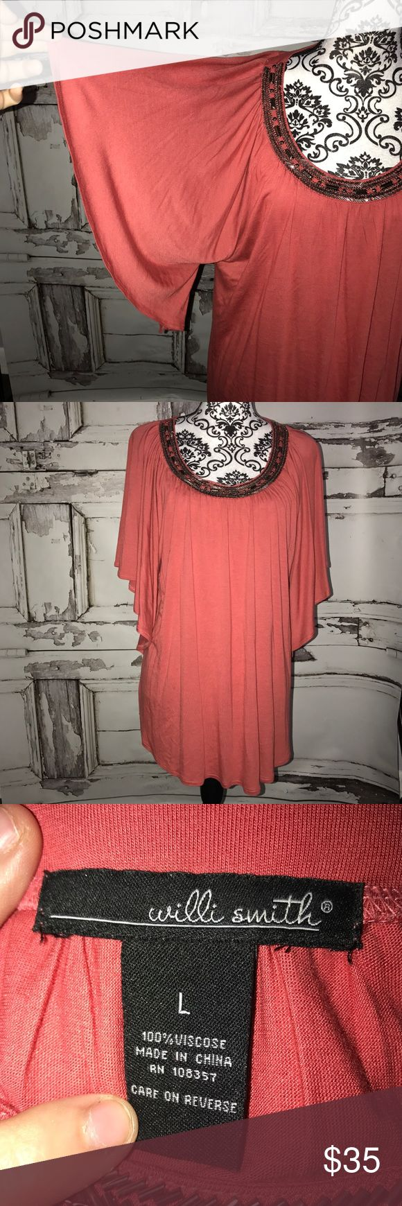 Willi Smith Large coral Blouse Coral Blouse with gorgeous flutter sleeves. Willi Smith Tops Blouses