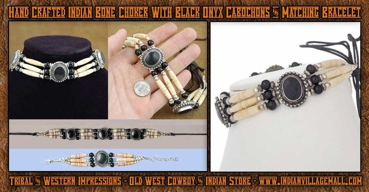 lack Onyx Cabochon Choker And Matching Bracelet From Tribal And Western Impressions- Old West Cowboy ANd INdian Store - www.indianvillagemall.com