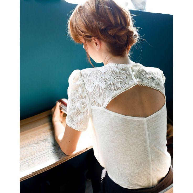 T-shirt dentelle manches courtes MADEMOISELLE R : prix, avis & notation, livraison.  T-shirt. Col rond. Manches courtes. Têtes de manches…