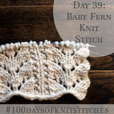 Day 39 : Baby Fern Knit Stitch : #100daysofknitstitches