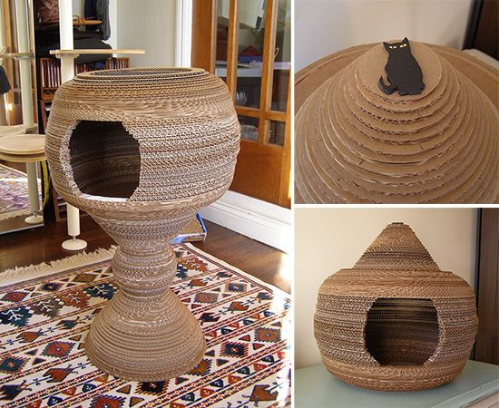 Sei Jin from San Diego created this amazing cat cocoon bed by hand cutting all the layers of cardboard! What a lot of work, but what a fabulous result, and obviously the kitties love it.