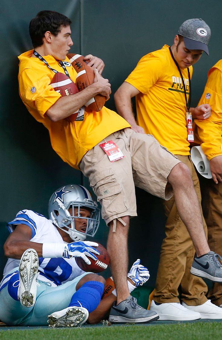Cowboys vs. Packers:     October 16, 2016   -  30-16, Cowboys  -       Cowboys Brice Butler tires to hide behind a ball boy after scoring a touchdown.