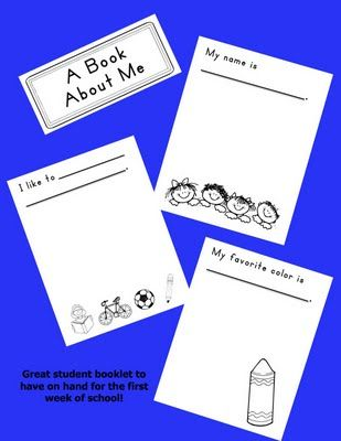 A Book About Me - I would like to have my daughter fill something like this out at the beginning of the year.