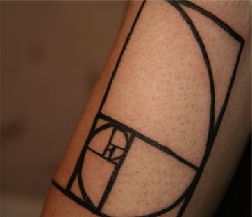 golden rectangle: God's architectural thumbprint on His creation. This principle can be found in sea shells as well as our hands. This is where the Romans came up with the structure for the Parthenon... this is in tattoo form lol