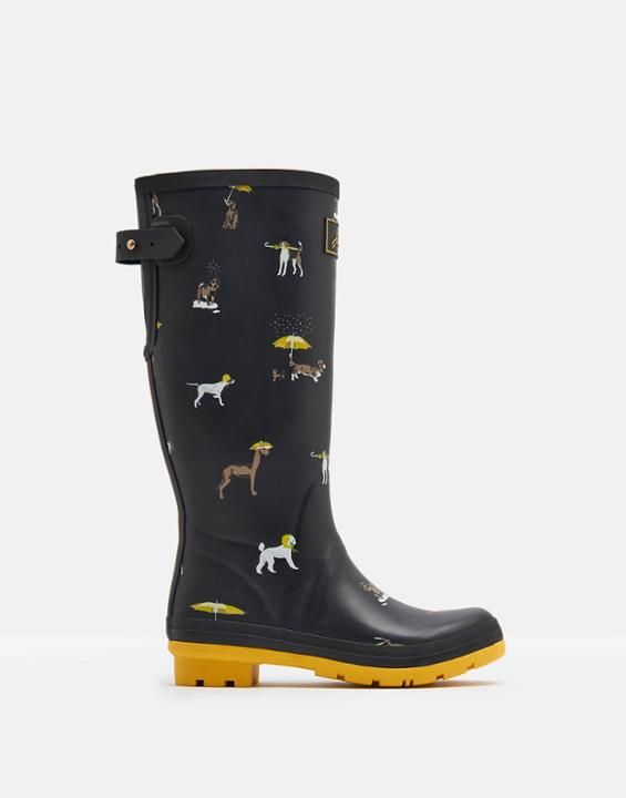 Joules US PRINTED Womens Rain Boots Black Raining Dogs