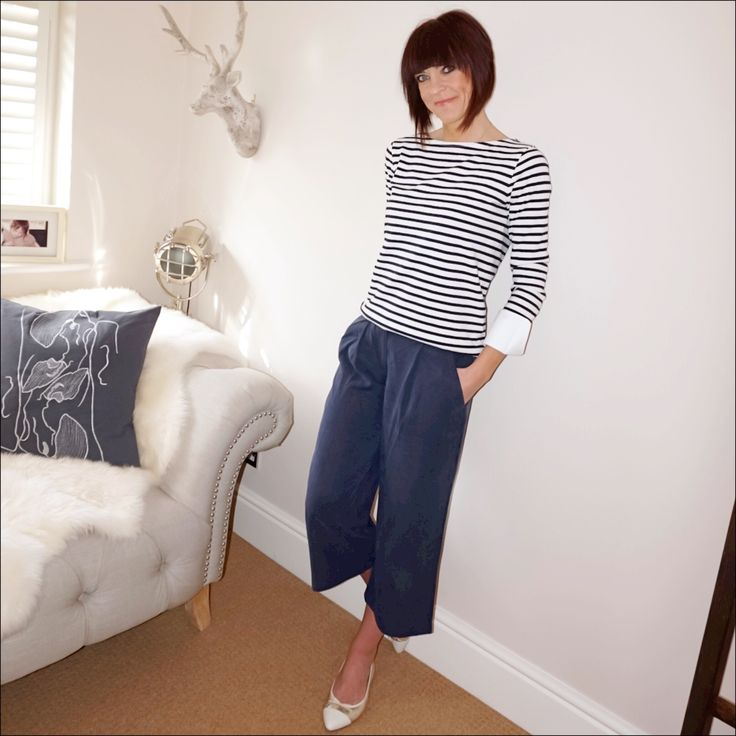 Classic breton with built in cuffs, culottes & metallic ballet pumps