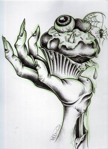 Zombie cupcake tattoo illustration