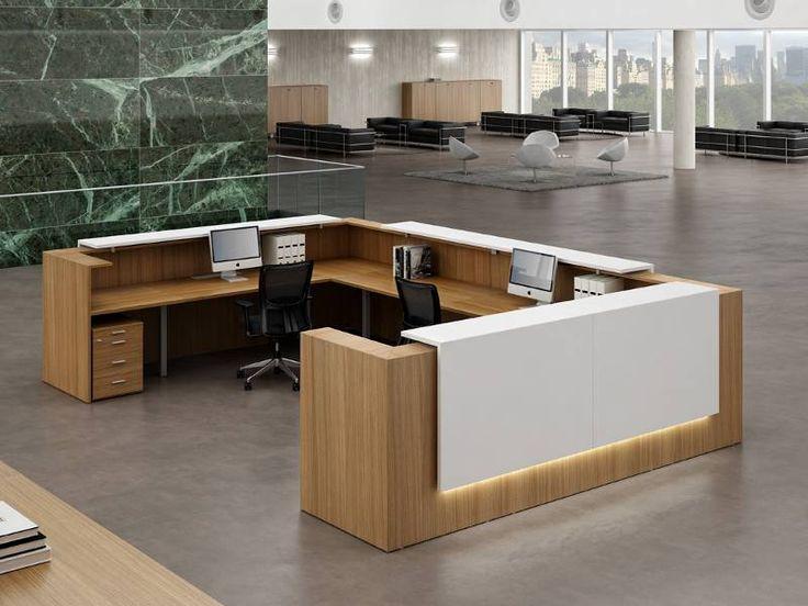Banque d'accueil Z2 wengé et blanche par Design Mobilier Bureau - Gamme Z2 par Officity