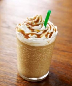 Caramel Frappuccino    You'll need:    4 cups ice    1 – 2  cups milk (depending on your taste)    2 cups cold coffee    6 Tablespoons sugar    a big squeeze of caramel topping    some whip cream    Instructions:    1.  Blend ingredients til smooth and top with whip cream and drizzle with caramel syrup.    2.  Sit on the couch.    3.  Drink.    4.  Smile.