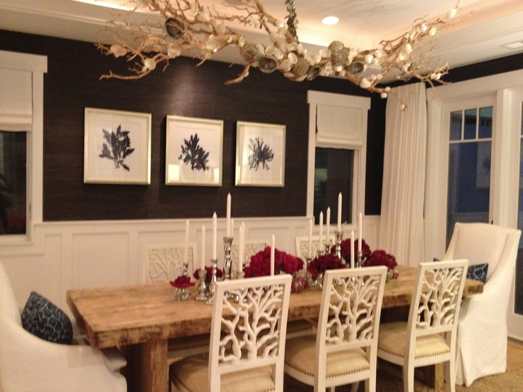 beach themed dining room  the chandelier is handmade and i love the coral  chairs. 22 best dining room images on Pinterest