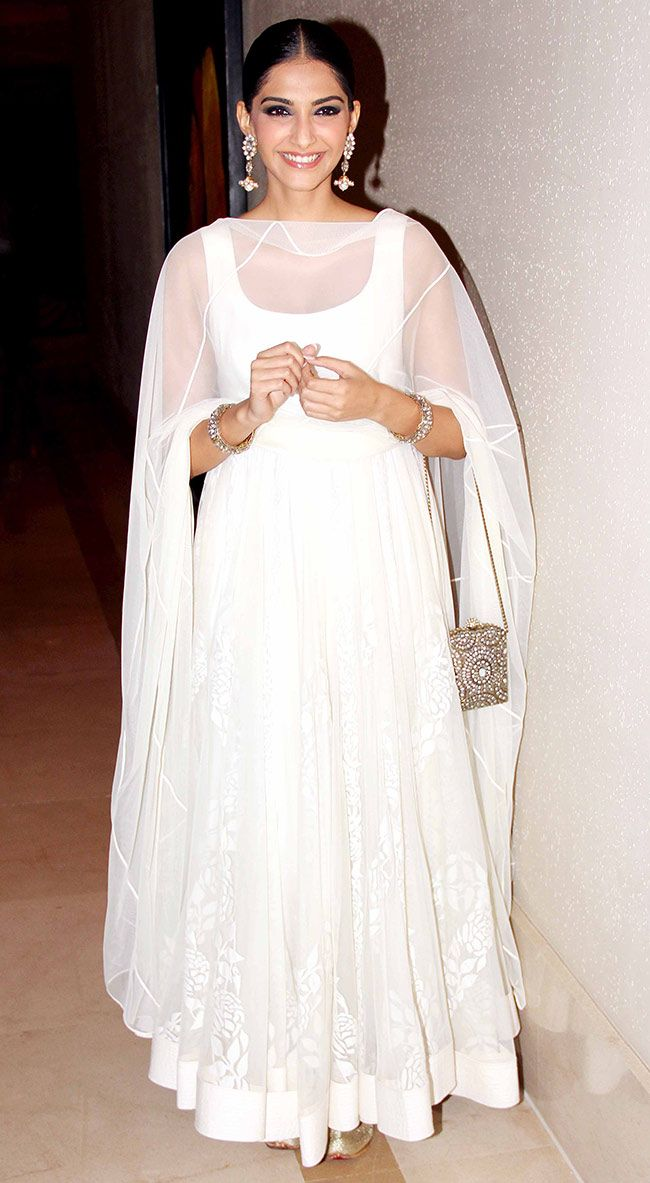 Sonam Kapoor in simple white anarkali