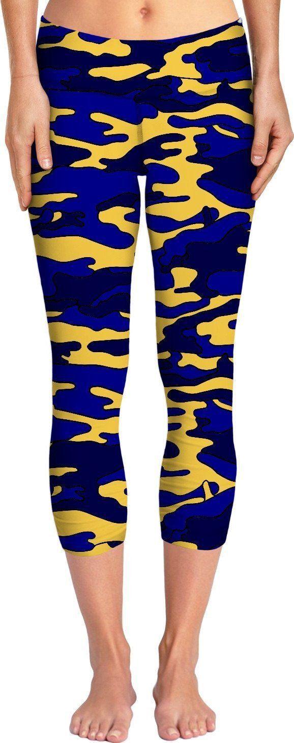 Blue & Yellow Camo Yoga Pants