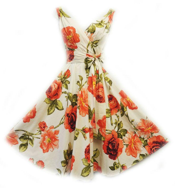 New Rosa Rosa Vtg 1950s Orange Floral Rose Print Rockabilly  Cotton Swing  Dress