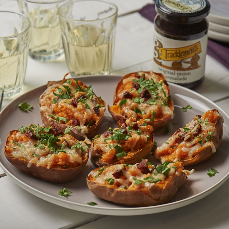 Baked Sweet Potatoes with unearthed® Chorizo, Manchego and Tracklements Original Onion Marmalade