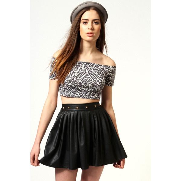 Mia Aztec Print Short Sleeved Bardot Top ($16) ❤ liked on Polyvore