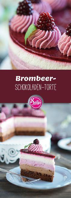 Die Brombeer-Schokoladentorte fasziniert mich durch ihr Aussehen. Die einzelnen … – Torten und Kuchen
