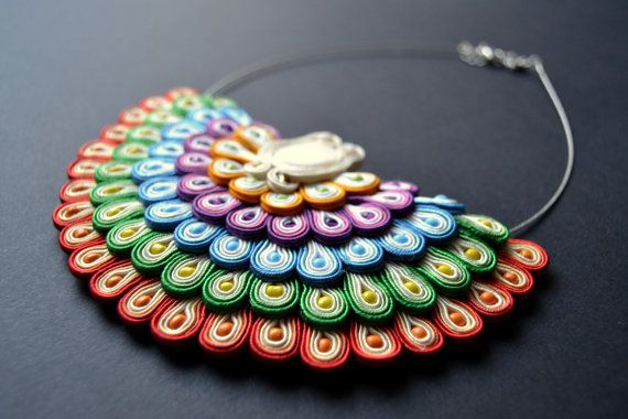 Beautiful colorful necklace made by soutache by AccessoriesAM, $150.34