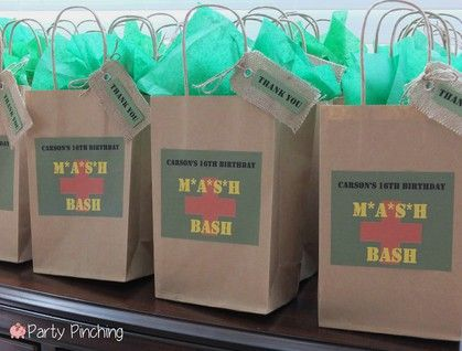 Mash Bash, Mash tv show themed party treat bags