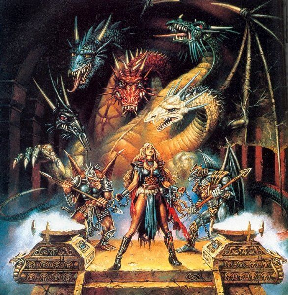 DragonLance. Laurana, chained before the Queen of Darkness in Dragons of Spring Dawning.