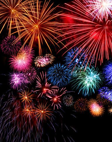 Image of 'Big fireworks festive display collection against dark sky background'
