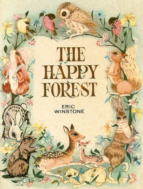 Book Cover Nursery Art : Awesome vintage forest animal children s book illustration