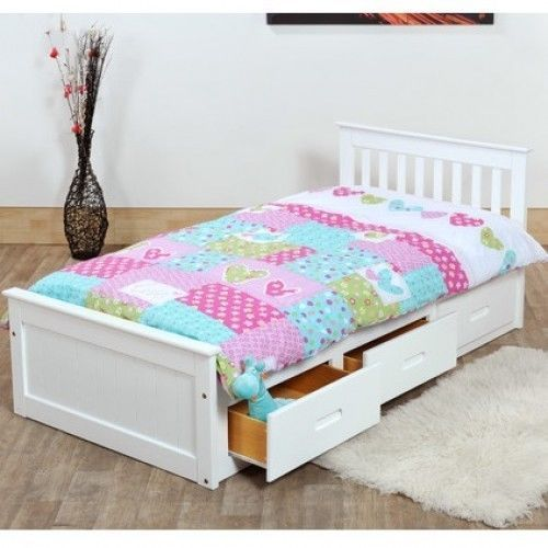 3ft Single Bed Captain Cabin Storage White Solid Pine Wooden Bedframe Children
