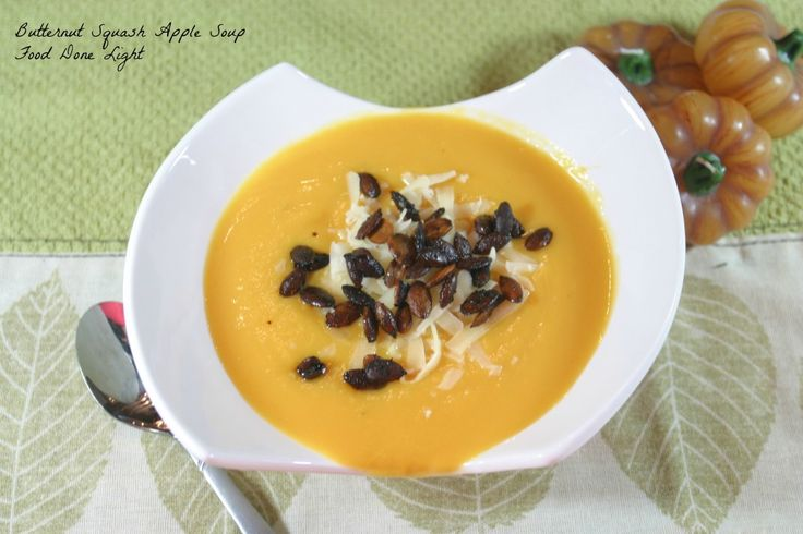 Butternut Squash Apple Soup with Roasted Pumpkin Seeds Food Done Light #soup #butternut squash