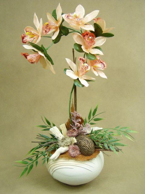 ORCHIDEA łosoś brzoskwinia zwis 1011 kula Kompozycje kwiatowe Marko604