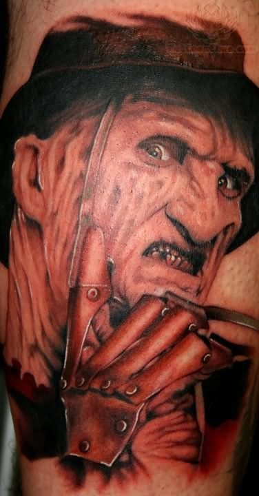 Freddy Krueger Grey Ink Tattoo