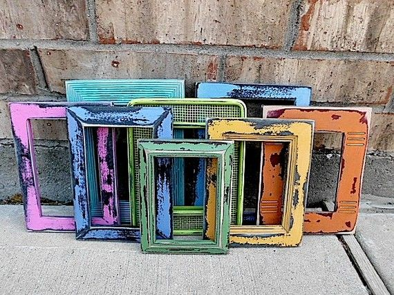 Find old frames and paint them fun colors.